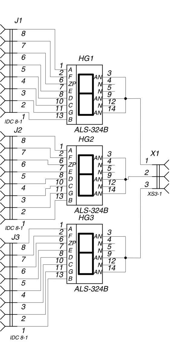 Схема платы индикации АЛС324Б